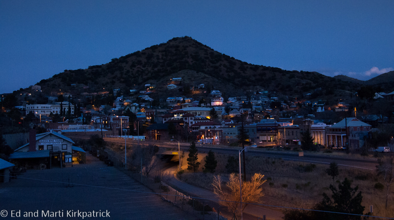 Bisbee from our campsite just before sunrise. Photo by Marti.
