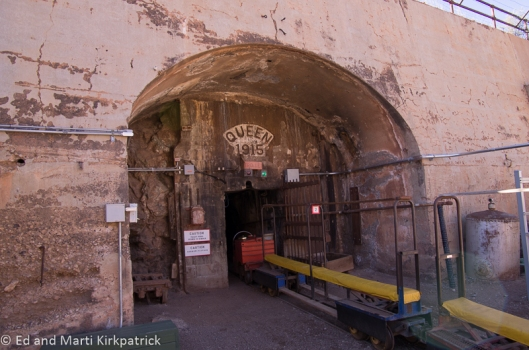Queen Copper Mine entrance and tour train cars. We did the tour...