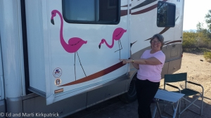 To replace our much missed plastic yard flamingo, our kids made and gave us these stick-on variety to decorate the RV.  We love them. Kids and flamingos both.