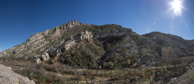 Rock Strata on Gila River-Panorama web