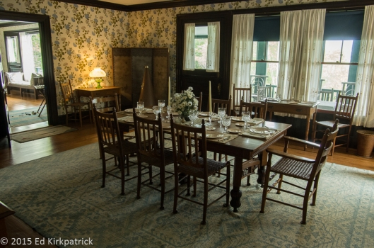 Dining room at the Roosevelt Cottage on Campobello Island.  The summered here for many years.