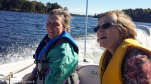 Marti goes for a boat ride on Deer Lake with our friend Beverley. Fraser was Captain and Wendy was Co-captain. I sat in the middle for balance.