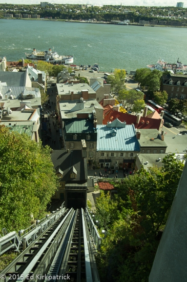 The Funiculaire du Vieux-Québec runs up the cliff to the Frontenac in the Old Quebec neighborhood of the city.